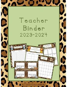 Teacher Organizational Binder 2016-2017 Zoo Theme - Leopard Print