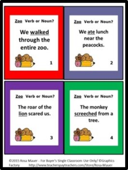 Noun or Verb Task Cards Zoo Theme