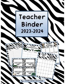 Teacher Organizational Binder 2017-2018 Zoo Theme - Zebra Print