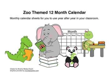 Zoo Themed 12 Month Calendar