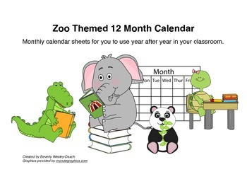 Zoo Themed 12 Month Calendar
