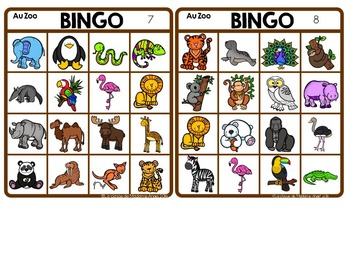 Zoo Themed Bingo Game in French