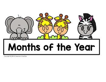 Zoo Themed Calendar Set-Classroom Decor