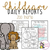 Zoo Themed Childcare Daily Reports (Daycare)