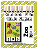 Zoo Themed Critter Clothes Pin Clip Cards ~ 0 to 20 ~ Fantastic Math Center