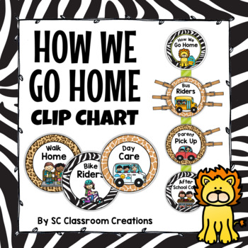 Zoo Themed How We Go Home Clip Chart