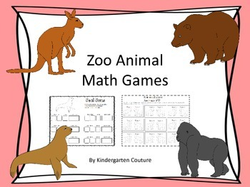 Zoo Themed Math Games and worksheets
