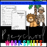 Zoo Themed No Prep Pre-K Worksheets