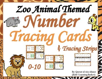 Zoo Animal Themed Number Tracing Cards and Strips--Write and Wipe (0-10)