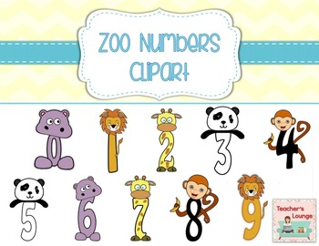Zoo Themed Numbers Clipart 0 - 9