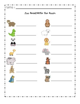 Zoo Themed Read and Write the Room