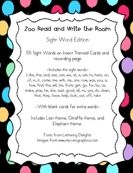 Zoo Themed Read and Write the Room - Sight Words