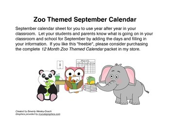 Zoo Themed September Calendar