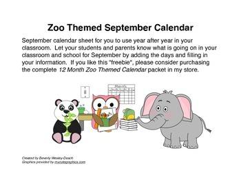 Zoo Themed September Calendar