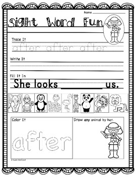 Zoo-Themed Sight Word Activities, Flashcards and Word Wall