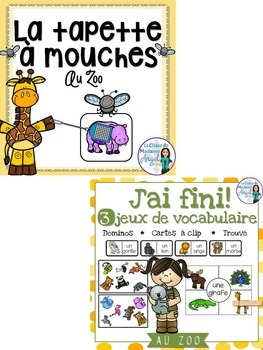 Zoo Themed Vocabulary BUNDLE in French