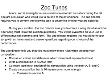 Zoo Tunes Assessment