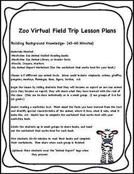 zoo virtual field trip lesson plans printable activities tpt. Black Bedroom Furniture Sets. Home Design Ideas
