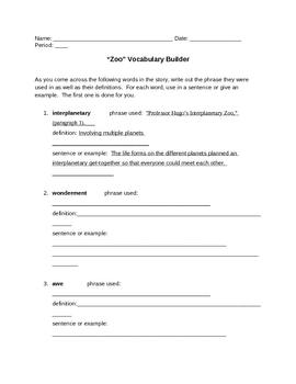 """Zoo"" Vocabulary Builder"