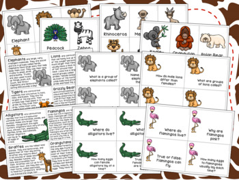 Zoo Vocabulary & Comprehension Activites