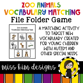 Zoo Vocabulary Matching Folder Game for Early Childhood Sp