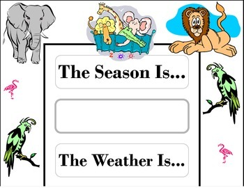 Zoo Weather Chart! Zoo Bulletin Board! Zoo Theme! Zoo Deco