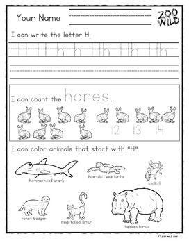 Zoo Wild A-Z Kindergarten Morning Work -- Homeschool or Elementary Fun