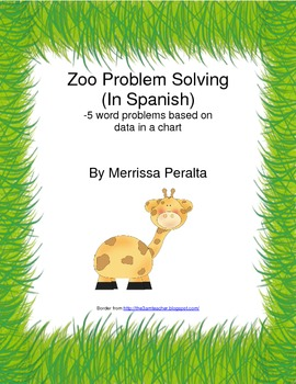 Zoo Word Problems-Set of 5 *IN SPANISH*