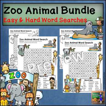 Zoo Word Search - Easy and Hard BUNDLE