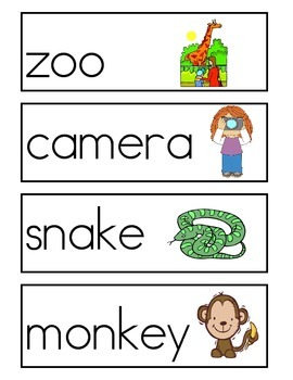 Zoo Word Wall Vocabulary Cards