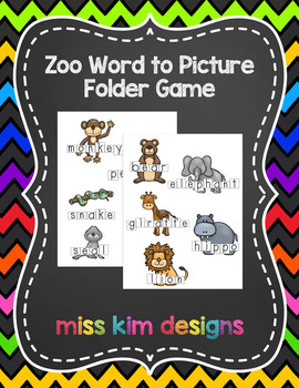 Zoo Word to Picture Reading Folder Game