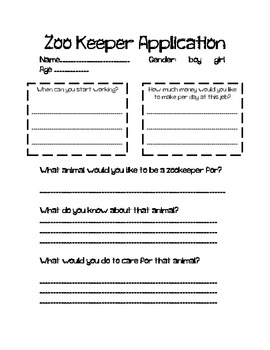 Zoo keeper teaching resources teachers pay teachers zoo writing zoo keeper application guess my animal spiritdancerdesigns Images