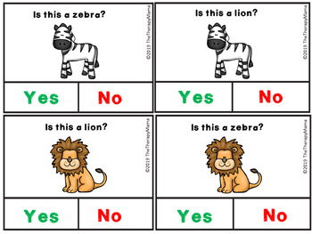 Zoo Yes and No Question Cards