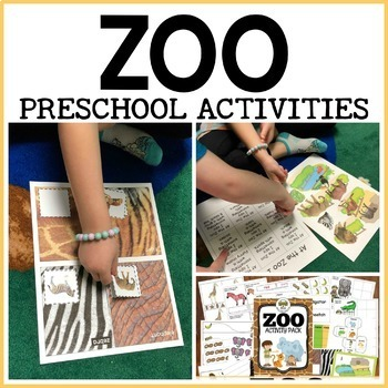 Zoo activity pack for Pre-K, Preschool and Tots