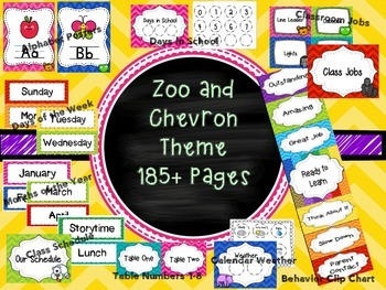 Zoo and Chevron Classroom Theme Pack