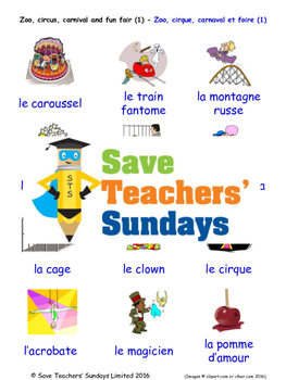 Zoo and Fun Fair in French Worksheets, Games, Activities a