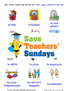 Zoo and Fun Fair in French Worksheets, Games, Activities and Flash Cards (2)