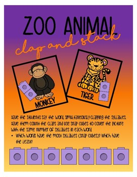 Zoo animal Clap and Stack