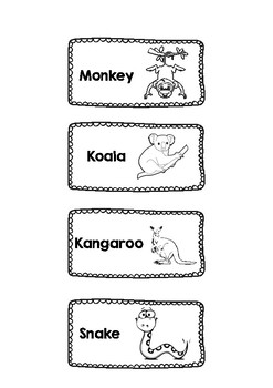 Zoo animals flash cards Black and white