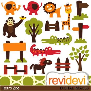 Zoo clip art, cute animals (elephant, giraffe, lion, crocodile) clipart
