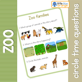 Zoo animal families circle time questions