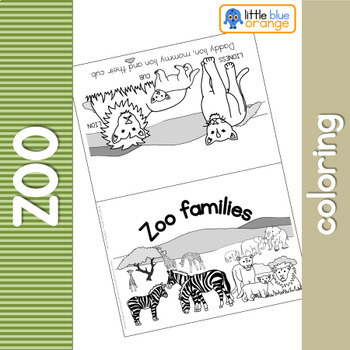 Zoo animal families coloring booklet