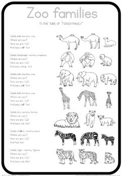 Zoo animal families  song