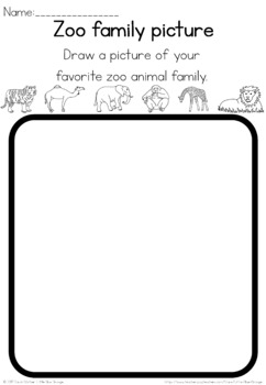 Zoo animal families observation sheet