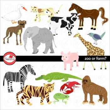 Zoo or Farm? Animal Clipart by Poppydreamz includes LINE ART!