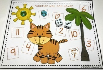 Zoo or Jungle Animal Roll & Cover Addition & Subtraction Games!
