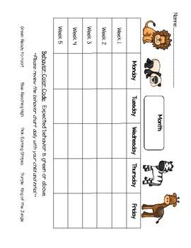 Zoo or Jungle Themed Behavior Chart
