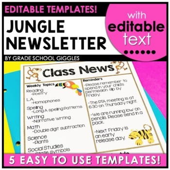Newsletter Template Editable Jungle Theme By Grade School Giggles