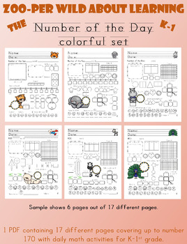 Zoo Theme Number of the Day - Color (Editable)