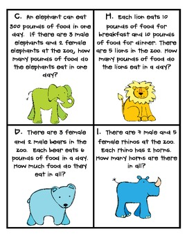Zoo-rific Two-Step Word Problems Task Cards (3.OA.8)